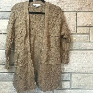 August Silk Knit Beige Cardigan Small